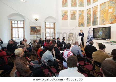 MOSCOW - MAR 30: Meeting of New Skiffs at the Museum of Andrei Rublev on March 30, 2012 in Moscow, Russia.