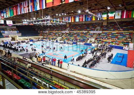 MOSCOW - JUN 9: Athletes, judges, spectators at Small sports arena of OC Luzhniki on day of 10th Team Championship of Europe on karate, June 9, 2012, Moscow, Russia.