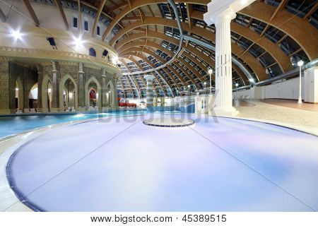 MOSCOW - JUNE 24: Pool and dome in waterpark Caribia, on June 24, 2012 in Moscow, Russia. Caribia waterpark in Perovo was opened in 2012.