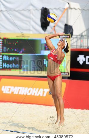 MOSCOW - JUNE 6: Woman from USA returns ball in Country Quota at tournament Grand Slam of beach volleyball 2012, on June 6, 2012 in Moscow, Russia.