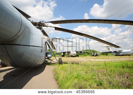 ZHUKOVSKY - JUNE 25: Airplanes and helicopter released from service, on June 25, 2012 in Zhukovsky near Moscow, Russia. Often held in Zhukovsky air shows and military equipment demonstrations.
