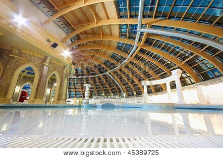MOSCOW - JUNE 25: Round dome and big pool in waterpark Caribia, on June 25, 2012 in Moscow, Russia. Caribia waterpark in Perovo was opened in 2012.