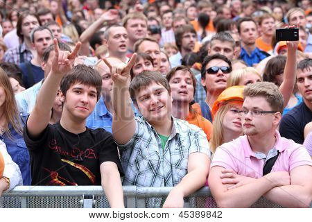MOSCOW - JUNE 23: Audience at Chayf performance in garden Hermitage at VII Summer Music Festival, on June 23, 2012 in Moscow, Russia.