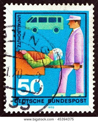 Postage Stamp Germany 1970 Stretcher Bearer, Casualty And Ambula