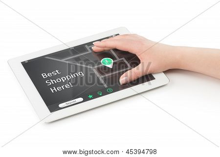 Woman's Hand Over A Tablet Computer.
