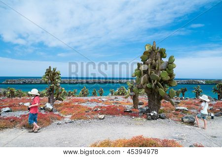 Two kids at scenic terrain on Galapagos South Plaza island