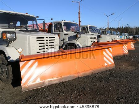 Row Of New Snow Plows