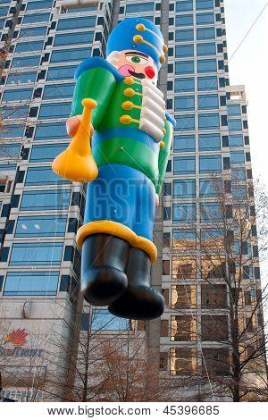 Toy Soldier Balloon Moves Through Atlanta Christmas Parade