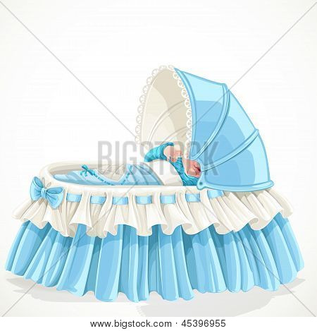 Baby in blue cradle isolated on white background