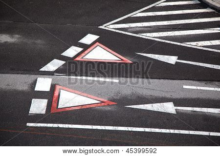 Yield Sign Marked At The Street In Vienna, Austria
