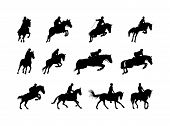 stock photo of saddle-horse  - horse and rider silhouettes isolated on white - JPG