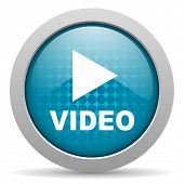 video blue circle web glossy icon