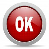 ok red circle web glossy icon