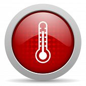 thermometer red circle web glossy icon