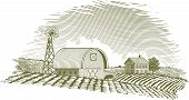 pic of barn house  - Woodcut style illustration of a farm scene with a windmill - JPG