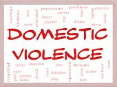 Domestic Violence Word Cloud Concept On A Whiteboard