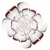 Fractal Beige Flower On White Background. Computer Generated Graphics.