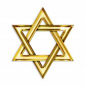 image of rabbi  - Illustration of golden hexagram on white background - JPG