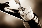 stock photo of bordeaux  - red wine tasting open bottle with corkscrew - JPG