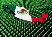 Mexico map flag surrounded by many abstract people illustration