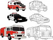 stock photo of fire truck  - Response vehicles an ambulance a fire truck and a police car  - JPG