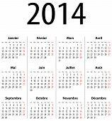 Постер, плакат: Французский твердых календарную сетку для 2014