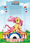 Elegance Vector illustration of little circus horse, beautiful illustration
