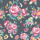 Beautiful Seamless vector pattern with roses in vintage style, vector illustration