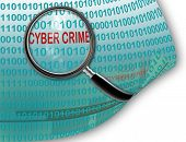 picture of white collar crime  - Close up of magnifying glass on cyber crime - JPG