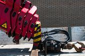 stock photo of boom-truck  - telescopic truck crane hook with hydraulic connections - JPG