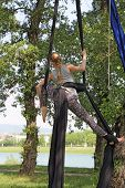 picture of aerialist  - Young woman gymnast in nature hanging in a tree - JPG