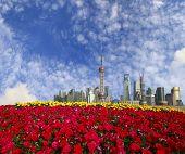 Shanghai Bund Landmark Skyline At New City Landscape poster