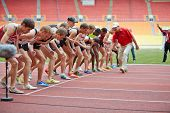 MOSCOW - JUN 11: Participants of race before start at Grand Sports Arena of Luzhniki OC during Inter