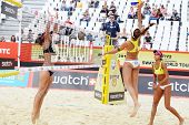 MOSCOW - JUNE 6: Brazil women play volleyball in Country Quota at tournament Grand Slam of beach vol