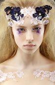 Gaze. Fantasy. Bright Image Of Charming Purebred Trendy Woman Blond. Futurism poster