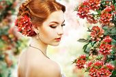 Relaxation. Profile Of Red Hair Beauty Over Natural Floral Background. Nature. Blossom