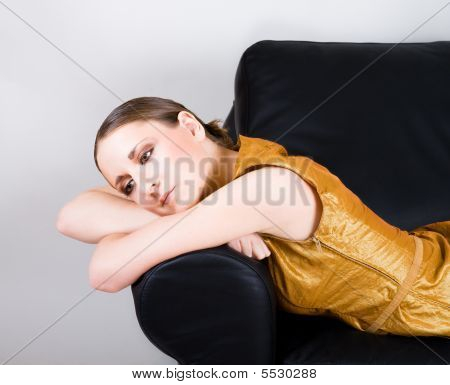 Woman Sleep On Sofa