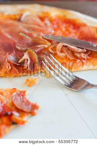 Closeup View Of Half Pizza On A Plate