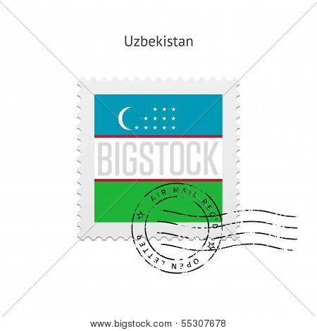 Uzbekistan Flag Postage Stamp.
