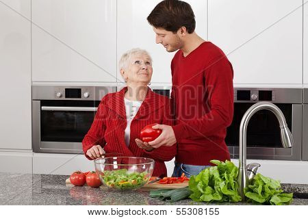 Grandma At Kitchen