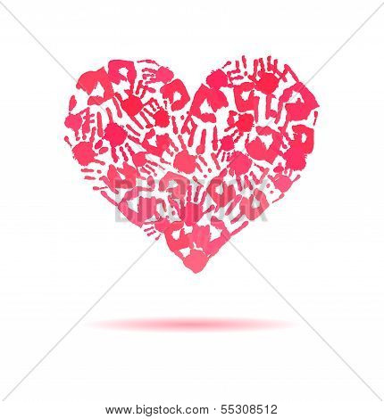 Pink Heart Made Of The Handprints.