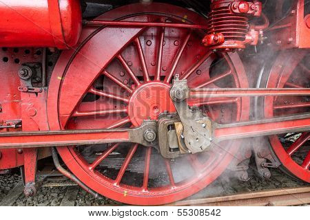 Ancient Wheel Of An Locomotive