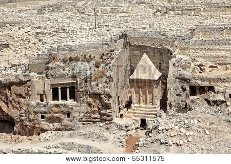 Tomb of of the priest Zechariah and ancient jewish 3000 years old cemetery on Mount of Olives in Jerusalem, Israel.