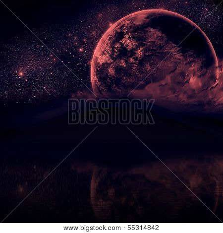 Beautiful Night sky with silhouette mountains and close planet
