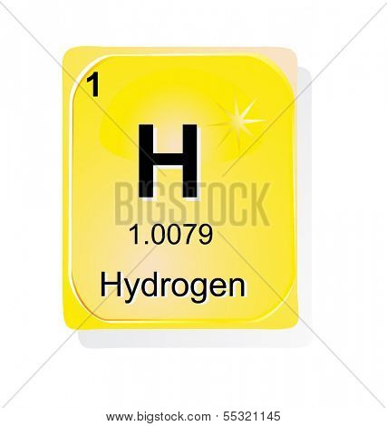 Hydrogen chemical element with atomic number, symbol and weight