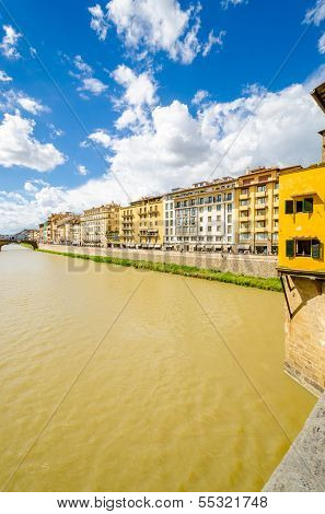 Florence, Ponte alla Carraia medieval Bridge landmark on Arno river.