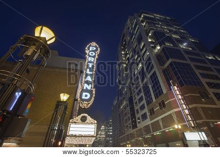 Broadway Portland Oregon At Evening Blue Hour