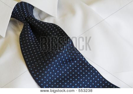 White Shirt Blue Necktie