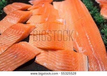 Salmon Fillet On Food Stall