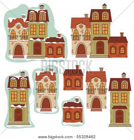 Set of retro houses